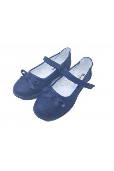 Pantofi fete bleumarin din piele naturala