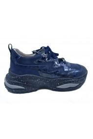 Pantofi sport bleumarin cu imprimeu sarpe  din piele naturala