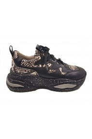 Pantofi sport dama negri cu imprimeu sarpe din piele naturala