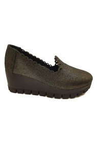 Pantofi dama casual auriu cu negru din piele naturala