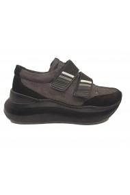 Pantofi sport dama negri cu talpa voluminoasa  din piele intoarsa