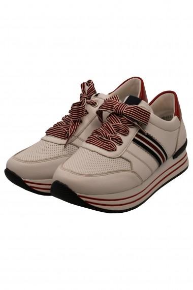 Pantofi sport dama alb cu rosu din piele naturala