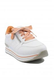 Pantofi sport dama alb-orange din piele naturala