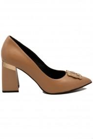 Pantofi dama eleganti bej din piele naturala