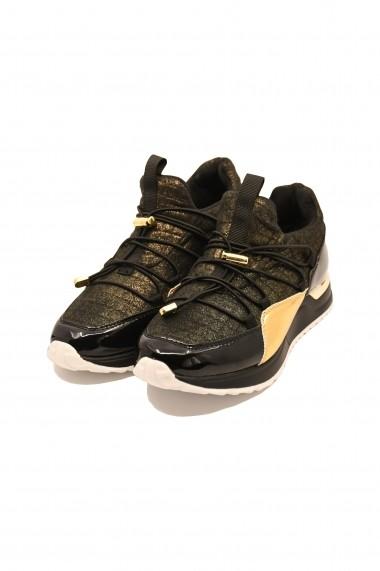 Pantofi sport dama negri-aurii  din material textil