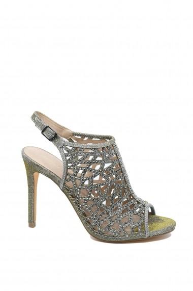 Sandale dama elegante gri tip botina