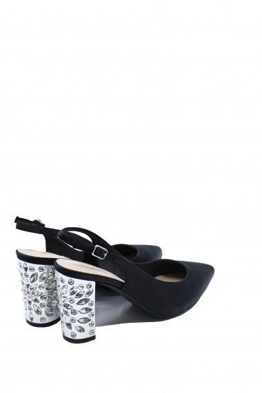 Pantofi dama decupati eleganti negri cu toc argintiu