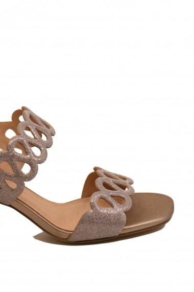 Sandale dama elegante nude sidefat