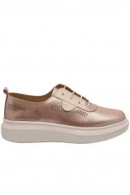 Pantofi dama casual roz din piele naturala