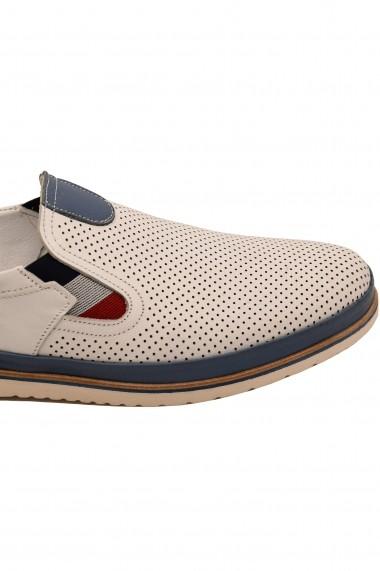 Pantofi casual albi barbati  din piele naturala