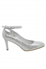Pantofi eleganti argintii cu bareta din piele intoarsa