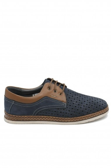 Pantofi casual bleumarin perforati dn piele intoarsa