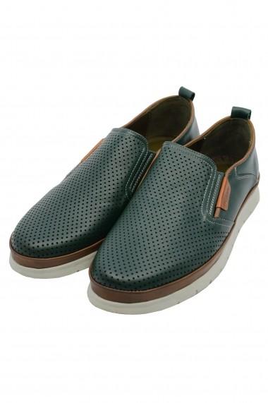 Pantofi barbati slip-on culoare verde din piele naturala