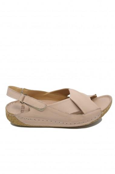 Sandale dama roz pudra din piele naturala cu talpa anatomica