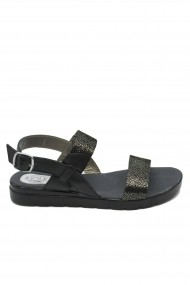 Sandale dama Aniss negru picatele din piele naturala