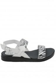 Sandale dama Aniss alb zebra din piele naturala
