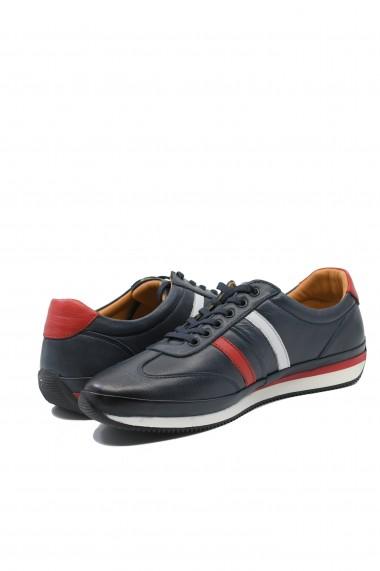 Pantofi casual sport barbati bleumarin din piele naturala