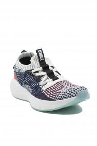 Sneakers dama alb-bleumarin din material textil