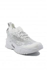 Sneakers dama alb-gri din material textil