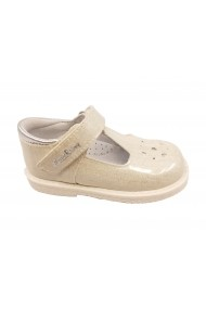 Pantofi fete albi glitter din piele naturala