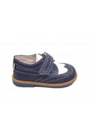 Pantofi baieti bleu-alb din piele naturala