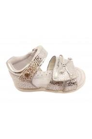 Sandale fete argintiu metalizat din piele naturala