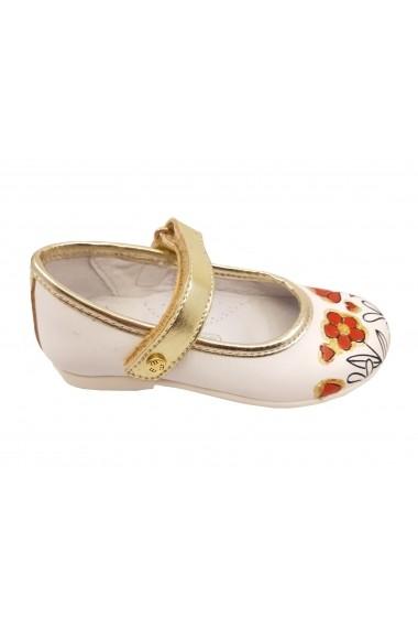 Pantofi fete albi din piele naturala cu flori pictate