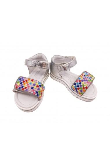 Sandale fete argintii din piele naturala