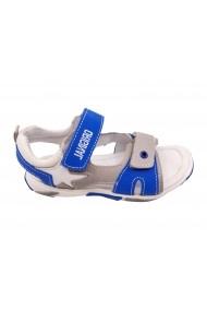 Sandale baieti gri cu albastru din piele naturala
