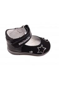 Pantofi fete negri din piele naturala intoarsa