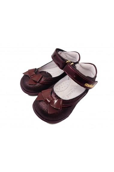 Pantofi fete bordeaux din piele naturala intoarsa