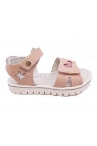 Sandale fete roz pal din piele naturala