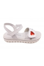 Sandale fete albe din piele naturala