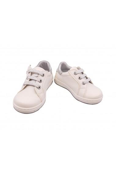 Pantofi fete albi cu siret  din piele naturala