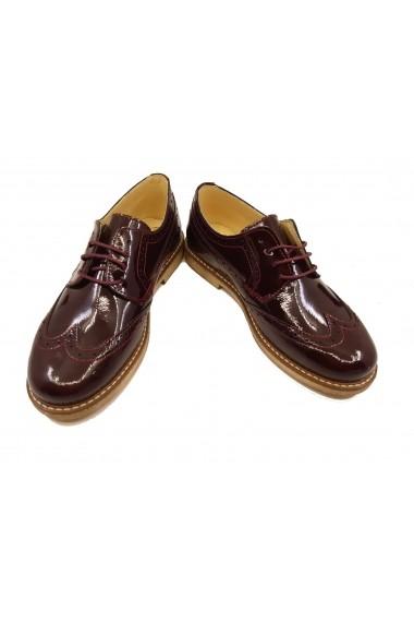 Pantofi fete Oxford bordeaux din lac