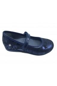 Pantofi fete bleumarin cu imprimeu flori din piele intoarsa
