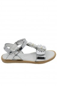 Sandale fete argintiu oglinda din piele naturala
