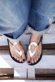 Sandale de dama din piele naturala funky colors  negru