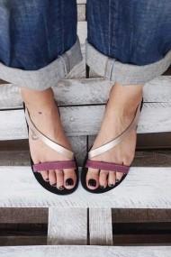 Sandale din piele naturala talpa joasa FUNKY STRIPES  visiniu