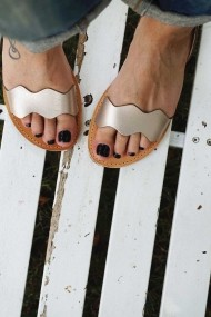 Sandale dama piele naturala FUNKY VIBE  grej metalic