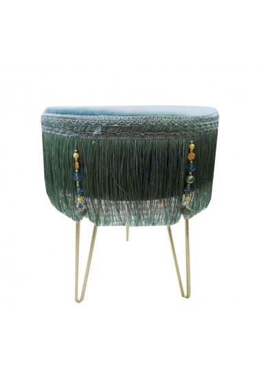 Scaun cu ciucuri din catifea si picioare metalice Otoman Gri