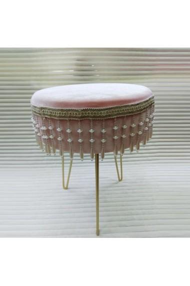Scaun catifea cu ciucuri si picioare metalice Pink