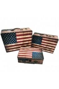 Set 3 cufere lemn American Flag