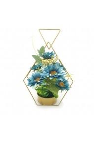 Aranjament floral cu cadru metalic  margarete turcoaz