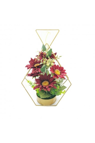 Aranjament floral cu cadru metalic  margarete