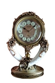 Ceas cu pendul stativ din conuri de cerb Crem-auriu