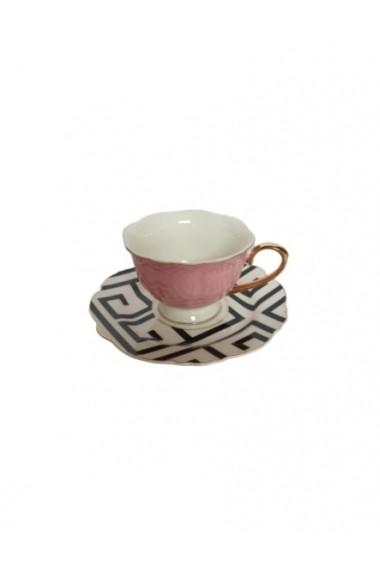 Set 6 cesti cu farfurioare Petit Brie Roz ceramica 210 ml