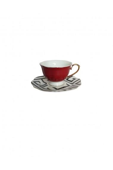 Set 6 cesti cu farfurioare Petit Brie Rosu ceramica 210 ml