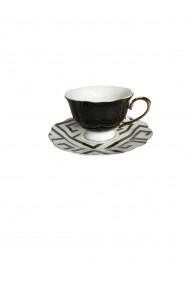 Set 6 cesti cu farfurioare Petit Brie Negru ceramica 210 ml
