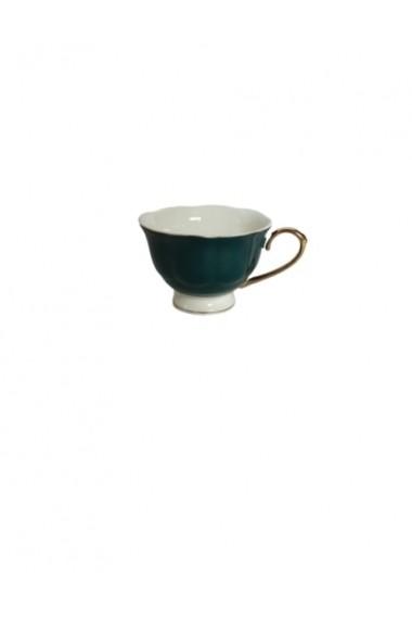 Set 6 cesti cu farfurioare Petit Brie Verde ceramica 210 ml
